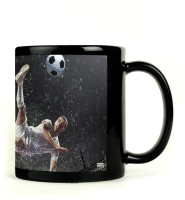Shoprock Football Kick In Rain Mug (Black, Pack Of 1)