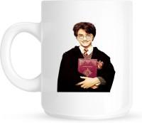 Huppme Harry Potter With Magic Book White  Ceramic Mug (350 Ml)