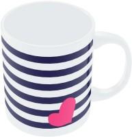 PosterGuy Love Strip Pattern(Blue) Graphic Design Ceramic Mug (280 Ml)