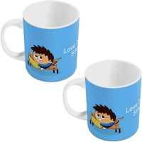 Little India Blue Designer Romantic Print Coffee  Pair 797 Ceramic Mug (300 Ml, Pack Of 2)