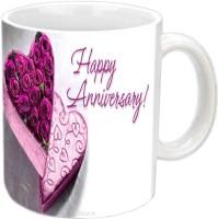Jiyacreation1 Happy Anniversary With Purple Roses White Ceramic Mug (350 Ml)