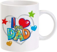 LOLprint I Love You Dad With Hearts And Stars Ceramic Mug (325 Ml)