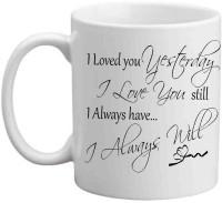 Jiyacreation1 I Always Love You Multicolor White Ceramic Mug (3.5 Ml)