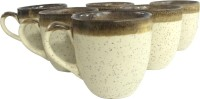 Toygully Ethnic White Cups Ceramic Mug (100 Ml, Pack Of 6)