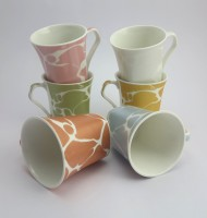 Importwala Marble Mug Set Of 6 Bone China Mug (150 Ml, Pack Of 6)