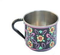 ECraftIndia Handpainted Decorative Stainless Steel Mug (180 Ml) - MUGEGCARA8WC4UH3