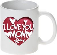Mugwala Love You Mom In Heart Printed Ceramic Mug (350 Ml)