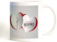 ShopMantra Couple In Umbrella Hearts Design Mug (White, Pack Of 1)