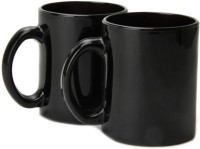 Gifts And Style Black Milk Glass Mug (300 Ml, Pack Of 2)
