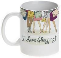 Mugwala I Love Shopping-Shopping Girl Ceramic Mug (330 Ml)