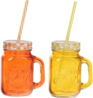 ZIDO Colorful Designer Mason Jar Glass Mug (450 Ml, Pack Of 2) - MUGEGH3RKKD5UVD3