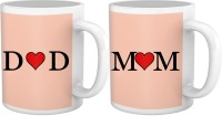 Tiedribbons Heart Touching Mom And Dad Gift For Parents Set Of 2 Ceramic Mug (325 Ml, Pack Of 2)