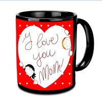 Jiyacreation1 I Love You MOM In Heart Multicolor Ceramic Mug (3.5 Ml)