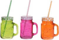 ZIDO Colorful Designer Mason Jar Glass Mug (450 Ml, Pack Of 3) - MUGEGH3UVD2MKVKG