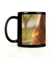 Shoprock Long Hair Girl Mug (Black, Pack Of 1)