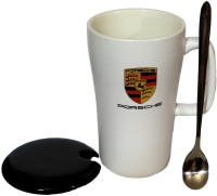 Satyam Kraft Supercar  - Porsche  With Metal Spoon And Lid Ceramic Mug (340 Ml)
