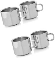 Dynamic Store Set Of 4 Double Wall Tea Cups Stainless Steel Mug (200 Ml, Pack Of 4)