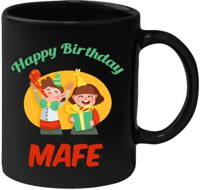 Huppme Happy Birthday Mafe Black  (350 ml) Ceramic Mug