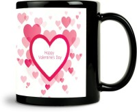 ShopMantra Vector Heart Pattern Mug (Black, Pack Of 1)