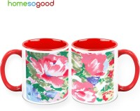 HomeSoGood Sketch Of Red Flower (Pack Of 2) Ceramic Mug (325 Ml, Pack Of 2)