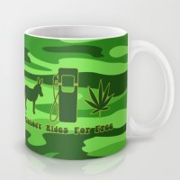 Astrode Ass, Gas Or Grass, Nobody Rides For Free - Vintage Saying In Green Ceramic Mug (325 Ml)