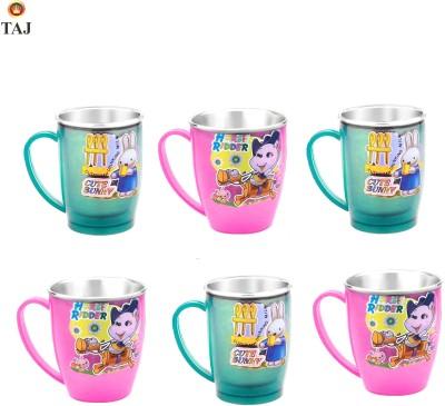 TAJ S.S Inner Fancy Cups Medium(Set Of 6 Pcs) Stainless Steel, Plastic Mug (180 Ml, Pack Of 6)