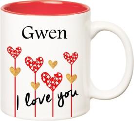 HuppmeGift I Love You Gwen Inner Red  (350 ml) Ceramic Mug