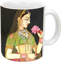 Jiyacreation1 Rajasthani Queen With Rose Multicolor White Ceramic Mug (350 Ml)