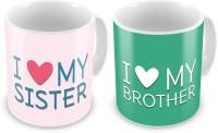 Home India I Love My Brother N Sister Printed Coffee  Pair 703 Ceramic Mug (300 Ml, Pack Of 2)