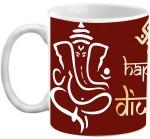 EFW Cups & Mugs EFW Happy Diwali Ganeshji Blessings Maroon Printed Coffee Ceramic Mug