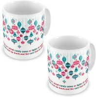 Little India Fancy Print Design White Coffee S Pair 597 Ceramic Mug (300 Ml, Pack Of 2)