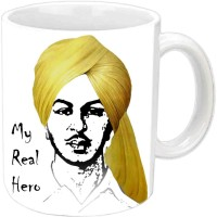 Jiyacreation1 Real Hero Bhagat Singh Multicolor White Ceramic Mug (3.5 Ml)