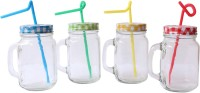 Grooto Mason Jars Combo Glass Mug (400 Ml, Pack Of 4)
