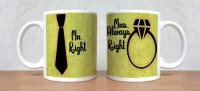 StyBuzz Mr. Right And Mrs. Always Right Green Couple Mug (White, Pack Of 2)