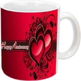 Jiyacreation1 Happy Anniversary White Ceramic Mug