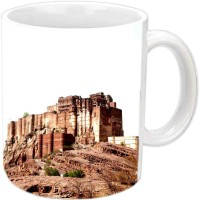 Jiyacreation1 Jodhpur Fort Multicolor White Ceramic Mug (3.5 Ml)