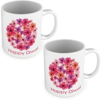 Home India Printed Floral Design Fancy White Coffee S Pair 585 Ceramic Mug (300 Ml, Pack Of 2)