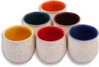 MC SID RAZZ Stone Finish, Coloured Terracotta Chai/Tea Kulhad Cups Ceramic Mug (120 Ml, Pack Of 6)