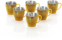 RK Super Lock & Seal Tea / Coffee Cup (Break Time) Yellow Color Stainless Steel, Plastic Mug (110 Ml, Pack Of 6)
