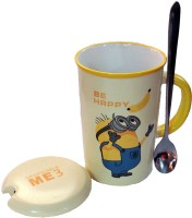 Satyam Kraft Minions  - BE HAPPY  With Metal Spoon And Lid Ceramic Mug (340 Ml)