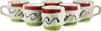 PUNCHAM Tri Color 8D Ceramic Mug (100 Ml, Pack Of 6)