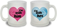 StyBuzz I Am With Her And I Am With Him Couple Frosted Mug Glass Mug (300 Ml, Pack Of 2)