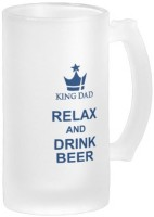 Boxmywish King Dad Fun Relax And Drink Beer Blue Beer Mug Frosted Glass Glass Mug (500 Ml)
