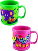 Radius Green & Pink Embossed Cartoon Mugs For Kids (Pack Of Two) Plastic Mug (300 Ml, Pack Of 2)