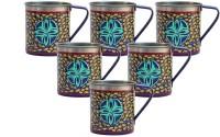 ECraftIndia Handpainted Decorative Stainless Steel Mug (180 Ml, Pack Of 6) - MUGEGCARJTBHCYHY