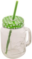 Satyam Kraft Mason Glass Jar - BLUE Pattern Lid With Folded Straw And Handle Glass Mug (501 Ml)