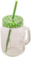 Satyam Kraft Mason Glass Jar - BLUE Pattern Lid With Folded Straw And Handle Glass Mug (501 Ml)