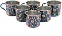 ECraftIndia Handpainted Decorative Stainless Steel Mug (180 Ml, Pack Of 6) - MUGEGCARFHFTKYPE