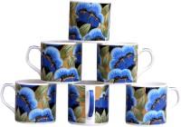 Pearl Floral-6 Cups Set Bone China Mug (180 Ml, Pack Of 6)