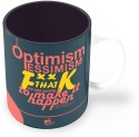 Thinkpot Optimism, Pessimism, F**K That, We're Going To Make It Happen - Elon Musk Mug - Blue, Pack Of 1